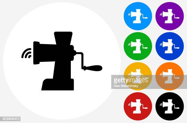 Meat Grinder Icon on Flat Color Circle Buttons