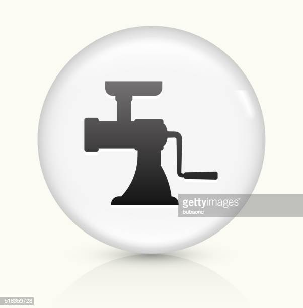 Meat Grinder icon on white round vector button