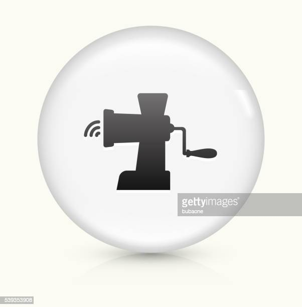 meat grinder icon on white round vector button - ground beef stock illustrations
