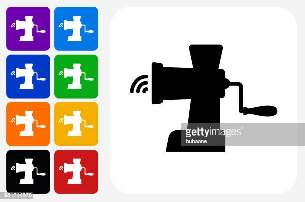 Meat Grinder Icon Square Button Set