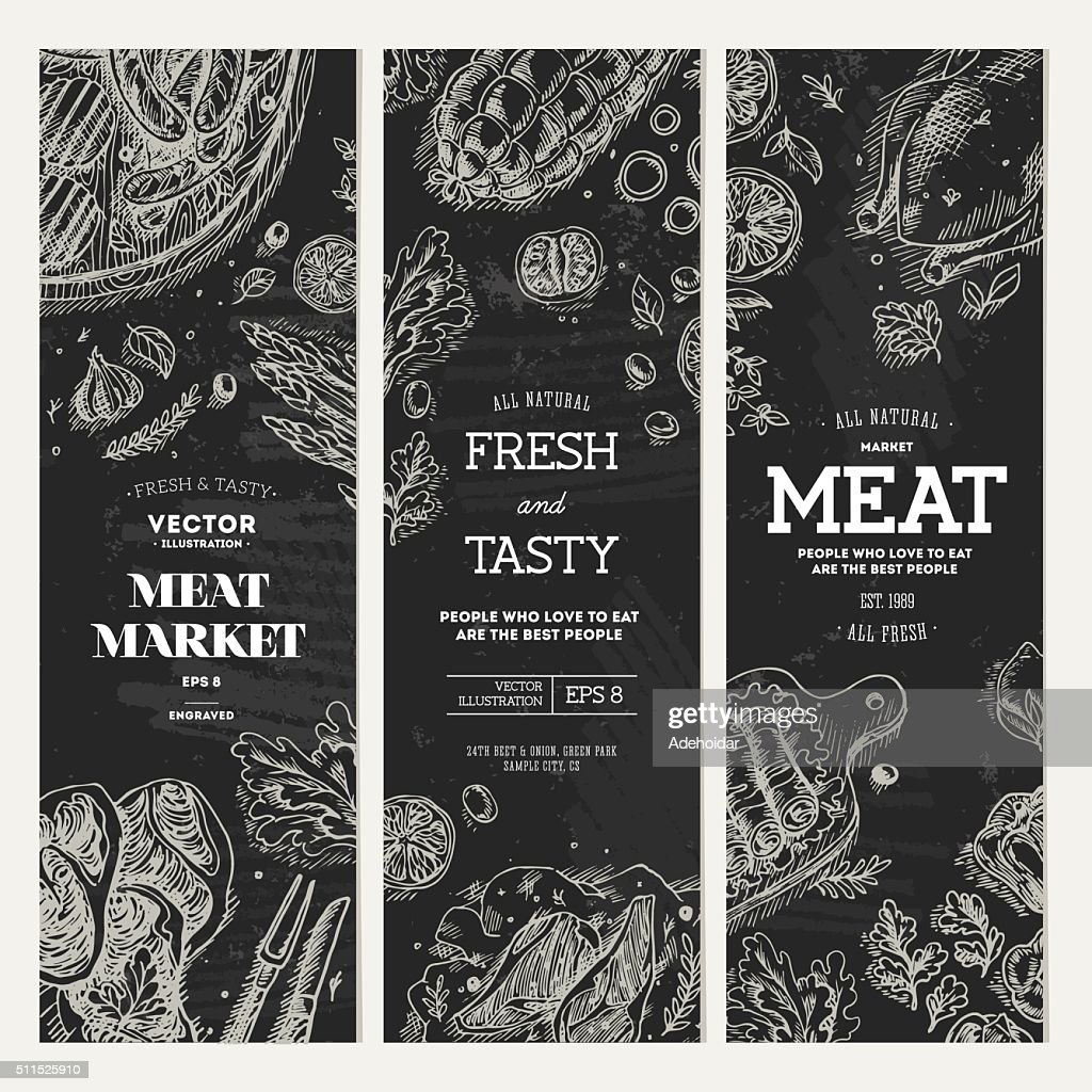 Meat market  chalkboard banner collection. Top view vintage illustration