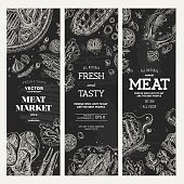 Meat market  chalkboard banner collection. Top view vintage illustration