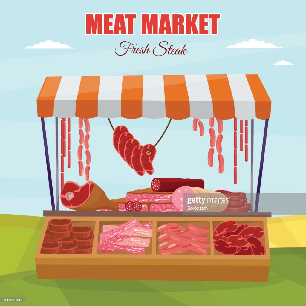 Meat market farm Butcher Shop modern flat cartoon vector illustration background