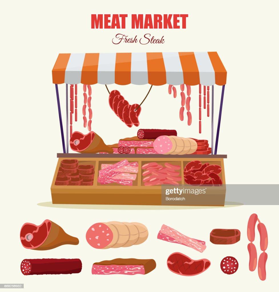 Meat market farm Butcher Shop modern flat cartoon vector illustration background infographics