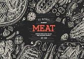 Meat market  frame. Linear graphic. Top view vintage illustration