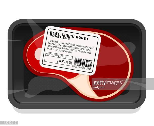 meat packaging - meat stock illustrations