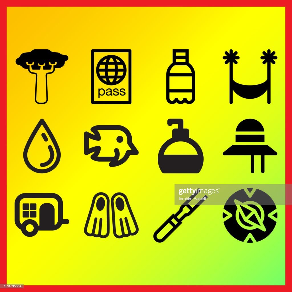 Meat, perfume bottle and compass related icons set