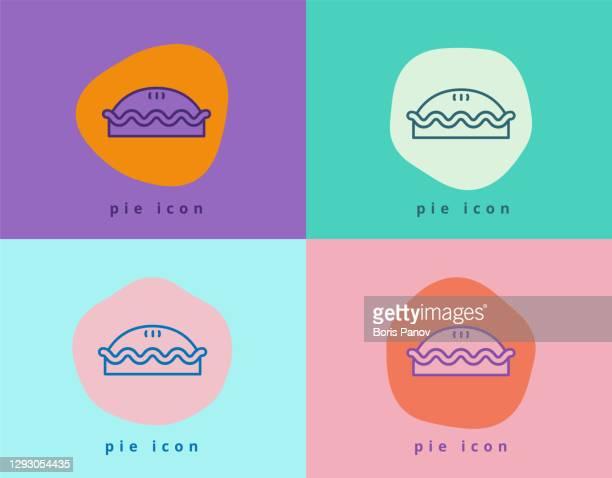 stockillustraties, clipart, cartoons en iconen met meat pie en apple pie icon symbool in fun en creative color block style - hartig voedsel
