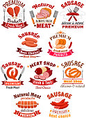 Meat product icon. Pork ham and sausage