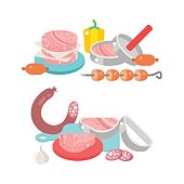 Meat products ingredient and rustic elements preparation equipment food flat vector illustration