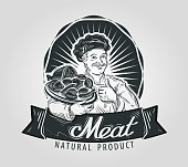 Meat products vector logo design template. Cooking, food or sausage