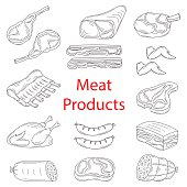 Meat products vector sketch illustration