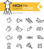 Meat & Seafood Line Icons