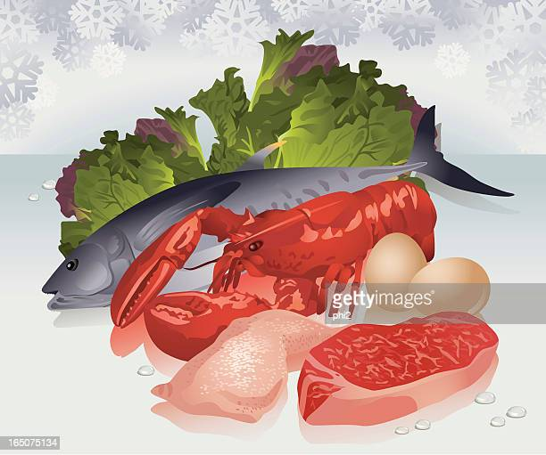 Meat, Seafood, Poultry and Vegetable Vector