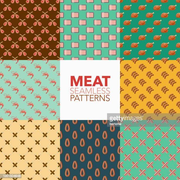 fleisch-nahtlose muster-set - bratwurst stock-grafiken, -clipart, -cartoons und -symbole