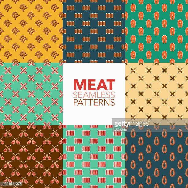 meat seamless pattern set - ground beef stock illustrations