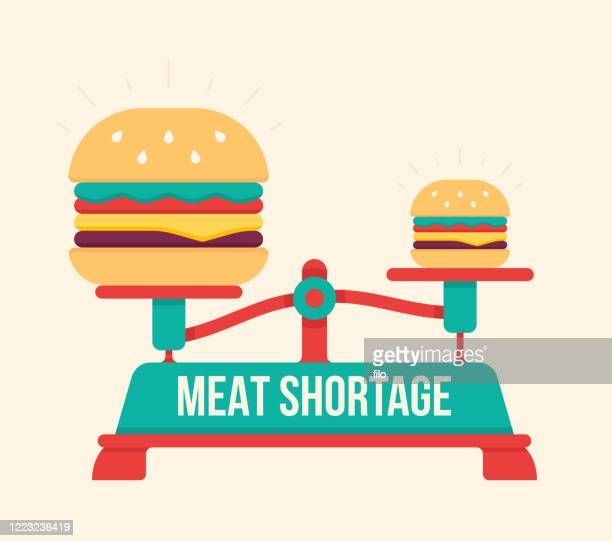 meat shortage hamburger food scale - weight scale stock illustrations