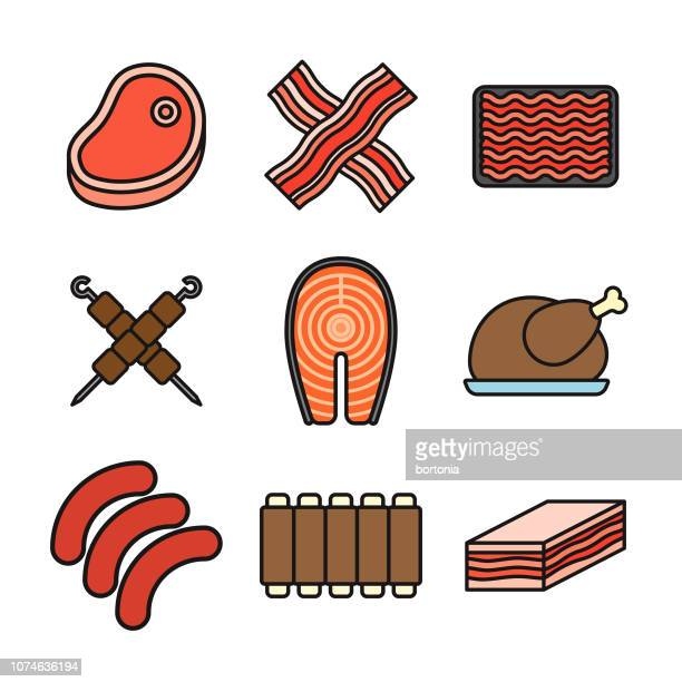 Meat Thin Line Icon Set