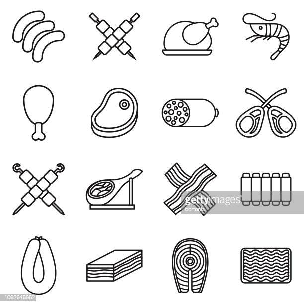 Meat Thin Line Outline Icon Set