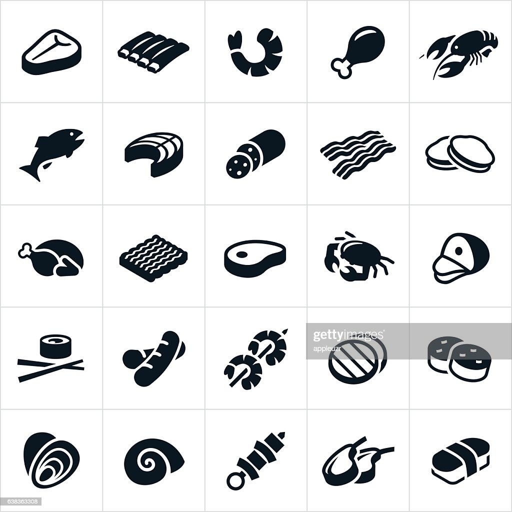 Meats and Seafood Icons : stock illustration