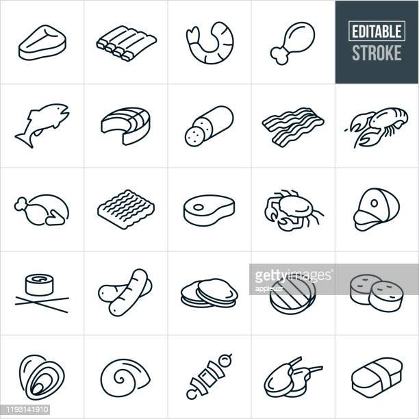 meats and seafood thin line icons - editable stroke - meat stock illustrations