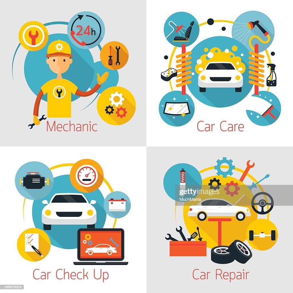Mechanic and Car Maintenance Service Concept Set