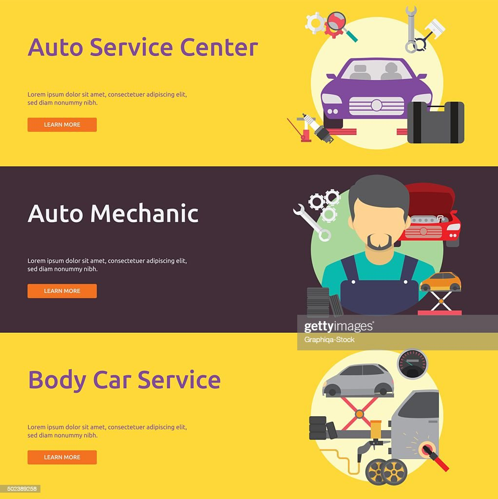 Mechanic and Car Repair Banner Set