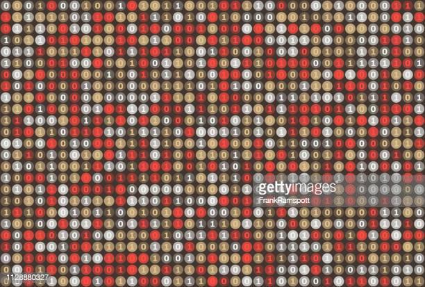 Mechanische binäre Zahlen Kreis Vektor-Muster Horizontal