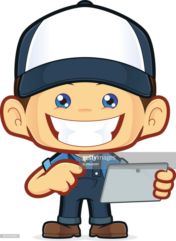 Mechanic holding tablet pc