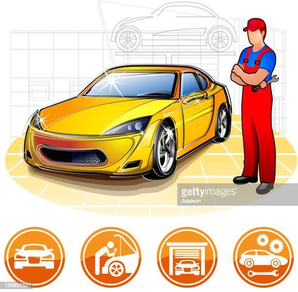 illustrations, cliparts, dessins animés et icônes de mécanicien dans l'atelier de réparation automobile - devant