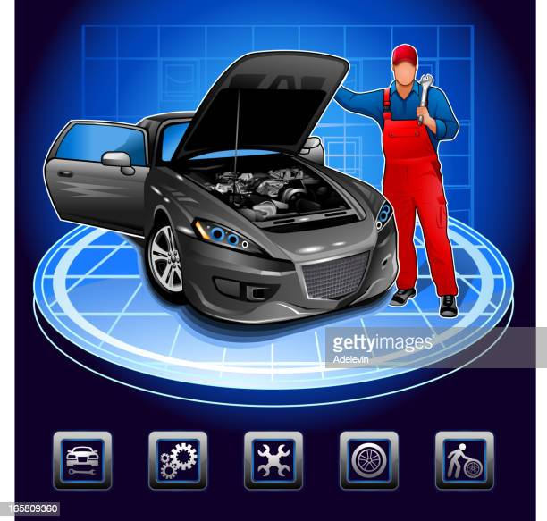 mechanic in auto repair shop - vehicle hood stock illustrations, clip art, cartoons, & icons