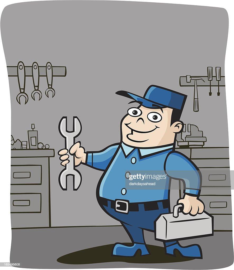 Mechanic in his Garage