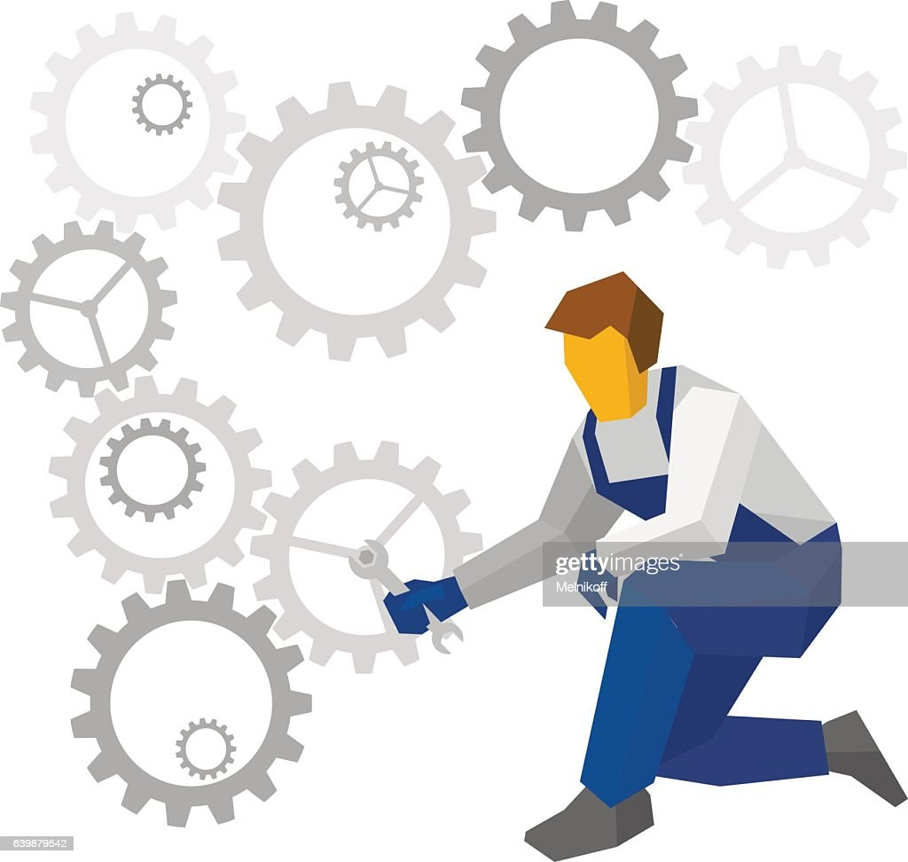 Mechanic repair complex mechanism of gears