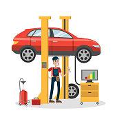 Mechanic repairing car in the service.