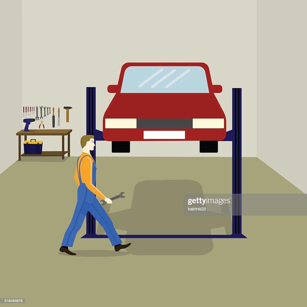 mechanic repairs the car