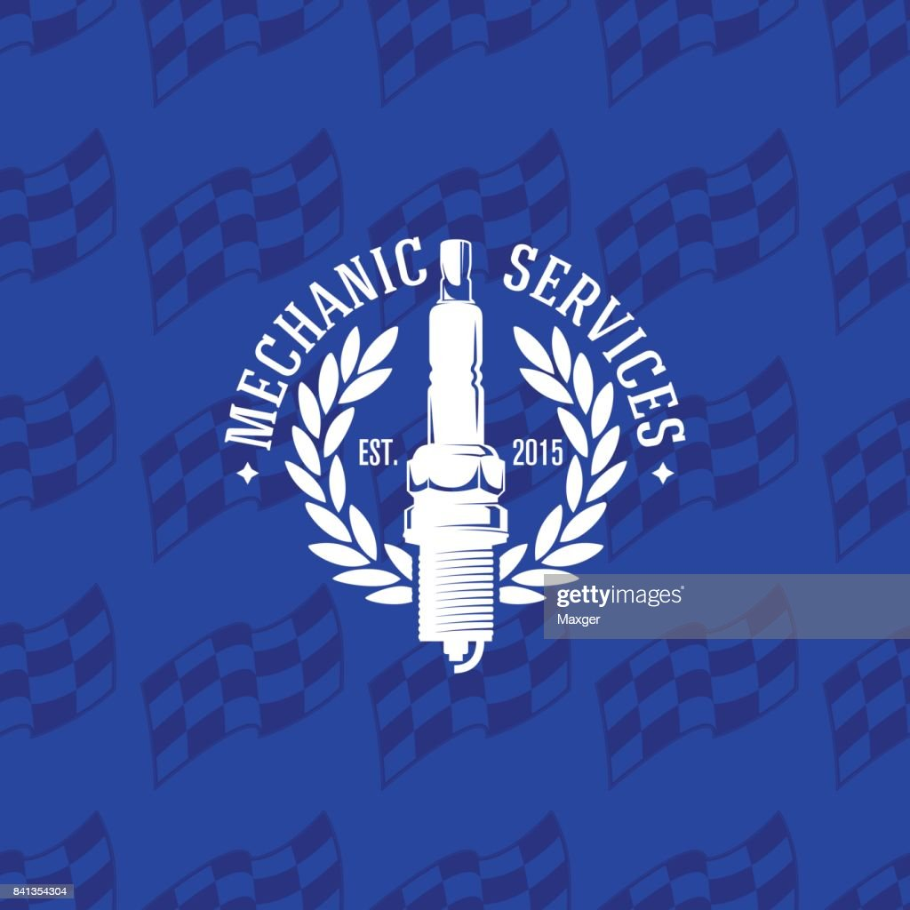 Mechanic service icon on seamless pattern checkered flag, vector illustration