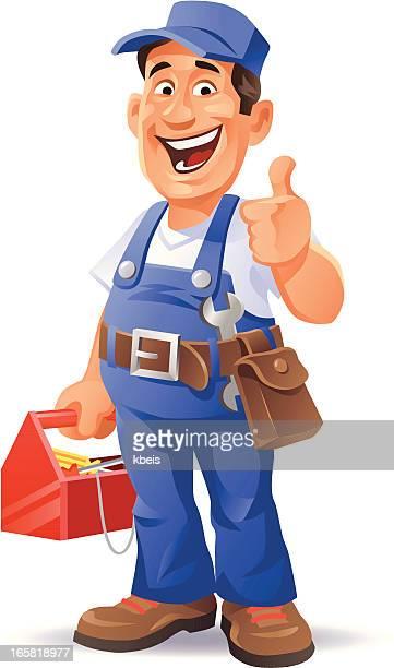 mechanic thumb up - tool belt stock illustrations, clip art, cartoons, & icons