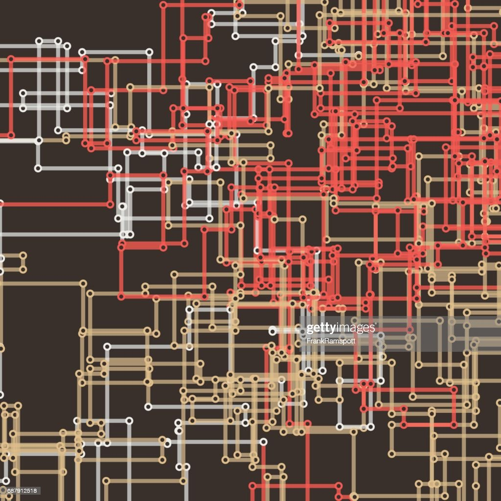 Mechanischen Vektor rechteckige Schaltung Linienmuster : Stock-Illustration