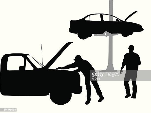 mechanic vector silhouette - vehicle hood stock illustrations, clip art, cartoons, & icons