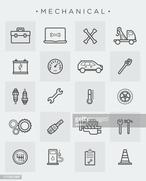 mechanical icon set - spare part stock illustrations