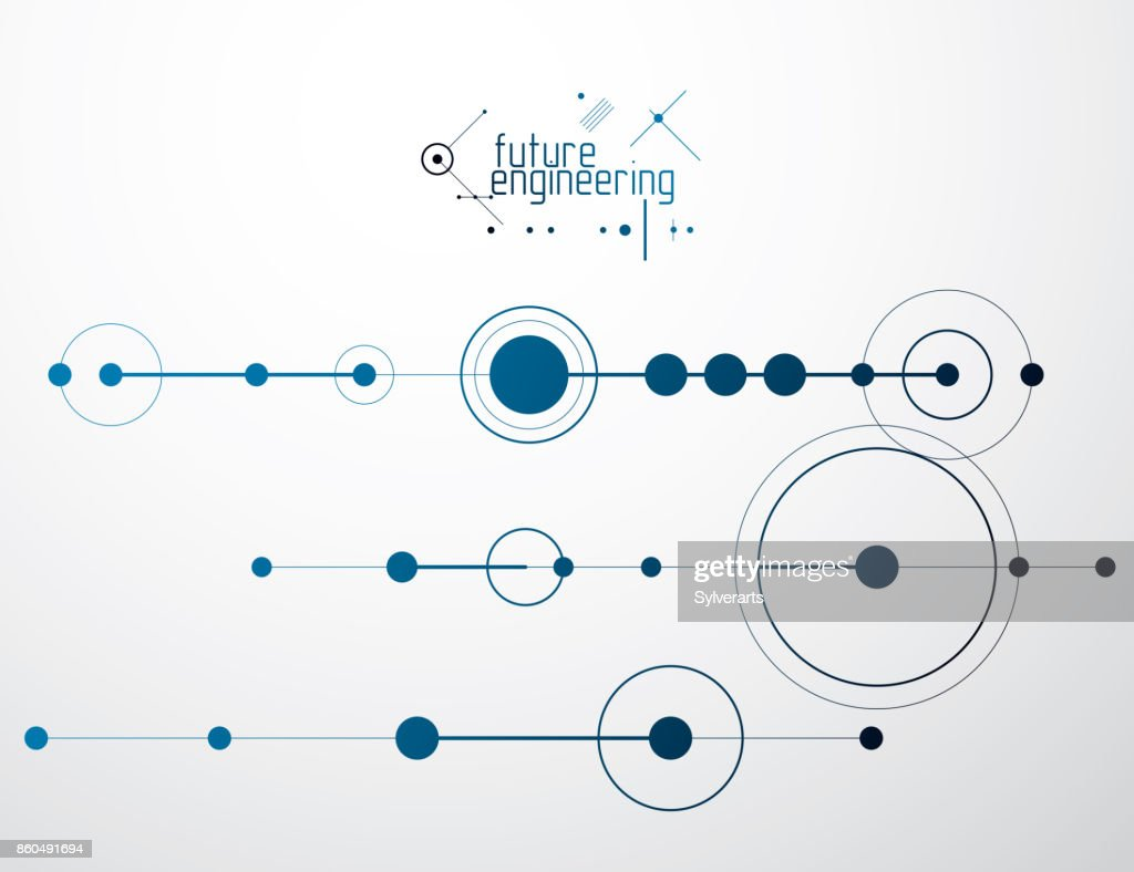 Mechanical Scheme Vector Engineering Drawing With Circles And Geometric Parts Of Mechanism Technical Plan Can Be Used In Web Design As Wallpaper Or