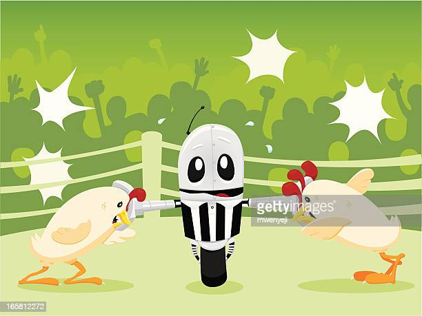 mechanically separated chickens - fighting stance stock illustrations, clip art, cartoons, & icons