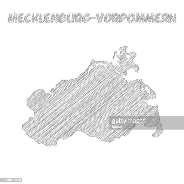 白い背景に描かれたメクレンブルク-フォアポンメルンマップハンド - メクレンブルク・フォアポンメルン州点のイラスト素材/クリップアート素材/マンガ素材/アイコン素材