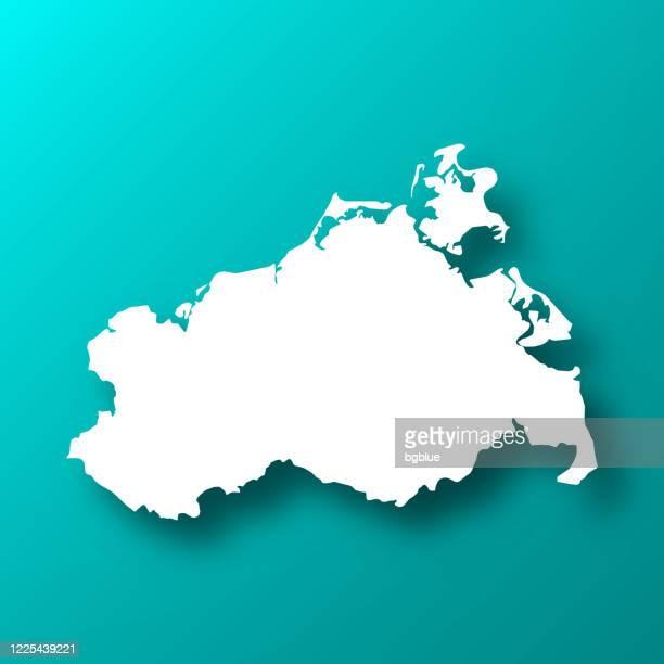 影のあるブルーグリーン背景のメクレンブルク-フォアポンメルン地図 - メクレンブルク・フォアポンメルン州点のイラスト素材/クリップアート素材/マンガ素材/アイコン素材