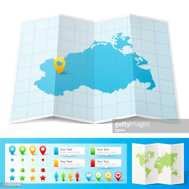 白い背景に分離された位置ピンを持つメクレンブルク-フォアポンメルンマップ - メクレンブルク・フォアポンメルン州点のイラスト素材/クリップアート素材/マンガ素材/アイコン素材