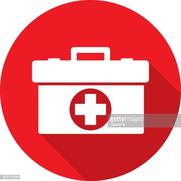 med kit icon silhouette - first aid stock illustrations