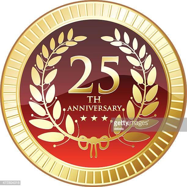 medal celebrating twenty fifth anniversary - medallion stock illustrations, clip art, cartoons, & icons