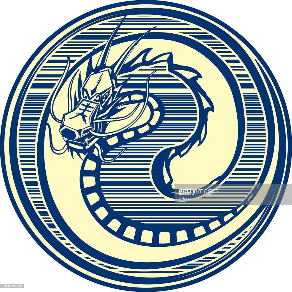 Medal dragon blue