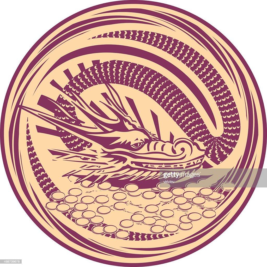 Medal dragon garnet