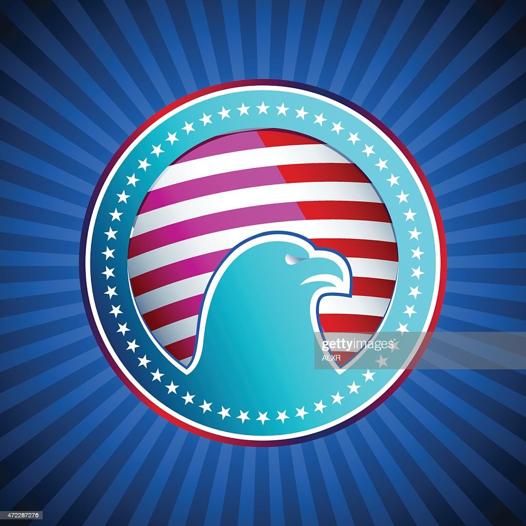 Medal Flag Eagle US America Background Head